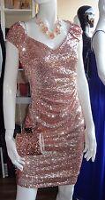 Godiva Rosa Oro Lentejuelas Escote Vestido Midi Talla 12