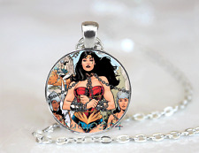 Wholesale Tibet silver Glass Cabochon Necklace Pendant Wonder woman is caught
