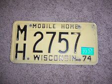 Wisconsin  license plate ----1974-------#2757--mobil Home