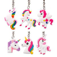 10PC Fashion Cute PVC Rainbow Unicorn Keychain Women Bag Charm Key Ring Pendant
