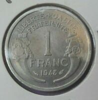 1 franc morlon aluminium 1948 : SUP : pièce de monnaie française N90