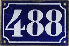 Old blue French house number 488 door gate plate plaque enamel metal sign c1900