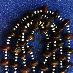 VINTAGE LONG TRIBAL SEED AND GLASS BEAD NECKLACE LOOKS LIKE A TINY CONKER