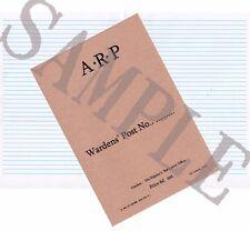 Ww2 Arp Report Logbook - (exact Copy)