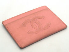 Authentic CHANEL Pink Caviar Leather CC Logo Classic Card Holder 17049641CK