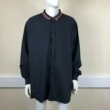 Jacamo Mens Navy Blue Red Stripe Collar Long Sleeve Plus Size Shirt UK XXX-Large