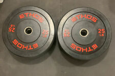 Brand New Pair Of Two- 25 lb. ETHOS Olympic Rubber Bumper Plates (Total 50 lb)