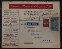 1947 Porto Portugal Airmail Chemic Products Commercial cover To Kent England