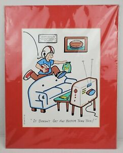 Michael Champe Cartoonist Original Hand Colored Print Signed 1996 Super Bowl Red
