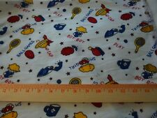"""Vintage cotton flannel fabric-novelty boy & girl print on white -36"""" x44"""""""