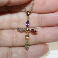 Marquise Multi Gemstone Cross Pendant Necklace Yellow 14k Gold over 925 SS