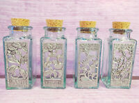 Seagull Pewter Set 4 Spice Herb Jars Spain Recycled Aqua Glass Cork Stoppers VTG