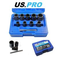 "US PRO Tools 10PC 3/8"" DR Impact Twist Socket Set -  Nuts Bolts & Studs Removal"