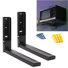 2 X Black Microwave Wall Mounting Holder Brackets With Extendable Arms Hot
