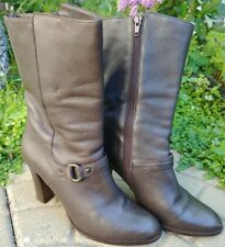 Banana Republic mid calf boots. high heel. brown leather. 7.5. Brazil