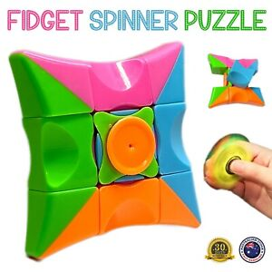 NEW! Fidget Spinner Puzzle Magic Cube Finger Spin Toys Stress Relief Kids Adults