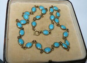 Vintage antique Art Deco Edwardian turquoise glass Bezel Set Riviere necklace