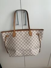 Louis Vuitton Neverfull Mm Damier Azur With Beige -  HOTSTAMPED With DUSTBAG