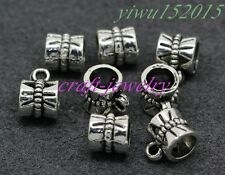 Tibetan Silver Charm Macroporous bail beads fit DIY necklace 15-300pcs  #3