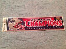 New England Patriots Bumper Sticker Super Bowl XXXVIII Champions NFL Decal