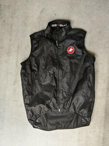 Castelli Men's XXL 2XL Black Cycling Vest Full Zip w Mesh Back READ DESCRIPTION