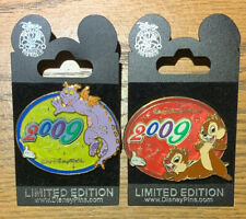 WDW White Glove Dated 2009 Figment, Chip & Dale Lot Of 2 LE 500 & 750 Disney Pin