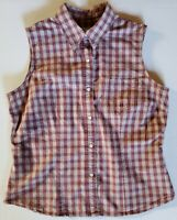 Roper Womens Plaid Pearl Snap Sleeveless Western Cotton Top Shirt Size Large