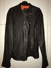 Superdry chaqueta de cuero motocicleta style marrón Biker Denim XL top chaqueta