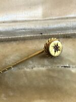 Antique Victorian 9ct Gold And Diamond Pin Stick