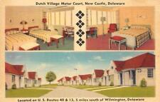 DUTCH VILLAGE MOTOR COURT New Castle, Delaware Roadside c1940s Vintage Postcard
