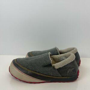 Sorel Mackenzie Waterproof Wool Fleece Slip Ons Grey Womens Size 10