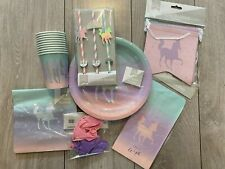 Unicorn Rainbow Birthday Party Decorations Supplies Plates Cups Straws Banner