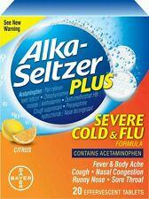 3x Alka-Seltzer Plus Severe Cold & Flu Citrus Formula Effervescent 20ct No box