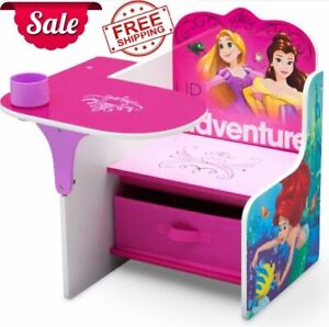 Princess Chair Desk with Storage Bin Kids Furniture Study Activity Table NEW