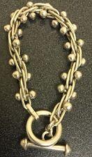 "SILVER Sterling Bracelet   8"" 42 GRAMS  Beautiful Toggle  Dangle Balls"
