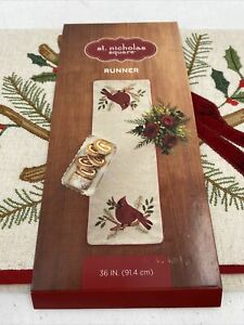 NEW St Nicholas Square Red Cardinal Linen Blend Table Runner 13x36 Christmas