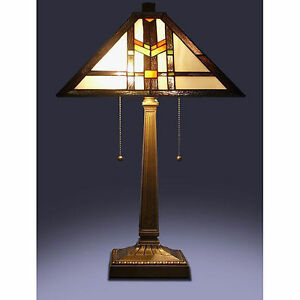 "Tiffany Style Stained Glass Brown Mission Table Lamp 16"" Shade Handcrafted New"