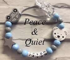 Personalised Dummy Clip💙Wooden🚙boy💙Dummy Chain🚙Grey💙white💙blue🚙car #PWP