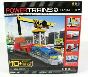 Jakks Pacific Power Trains Crane City Train Set 35 Pieces 10+ Feet Track Ages 4+