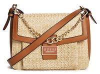 NWT GUESS ELINA HANDBAG Large Tan Logo Straw Crossbody Shoulder Bag GENUINE