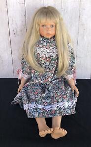 "Vintage 1998 Pamela Erff 28"" Blonde Porcelain Doll Collectible Purple Eyes"