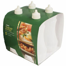 4 Plastic Vinegar 375ml Bottles Container Fish And Chip Takeaway Cafe Set Sunnex