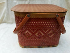 Vintage Red-Man? Red Waffle Woven Picnic Basket with Pie Riser Mid Century