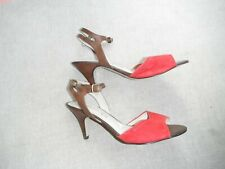 Autograph insolia ladies brown/red leather/suede sandals strap detail 7