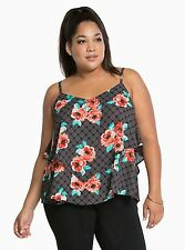NWT TORRID Plus Size 2X INDIE GLAM FLORAL LAYERED CRISSCROSS CAMI (LLL16)