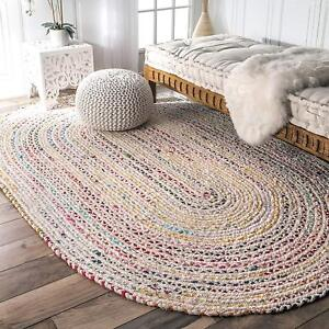 Rug Oval Shaped Area Dhurrie Hand Braided Rug 100% Cotton White Base Living Rug