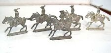 Set of Five Diecast Pewter Metal Soldiers on Horse back
