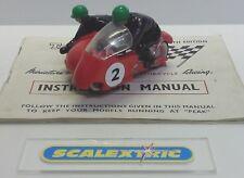 SCALEXTRIC Tri-ang Vintage 1963 B2 HURRICANE MOTORCYCLE & SIDECAR RED #2 plus