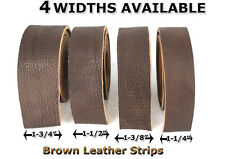 "NATURAL BULLHIDE  LEATHER STRIPS, 49""+ LONG 4 Widths Available - BROWN"