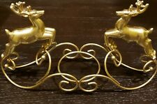 """GOLD METAL DEERS CANDLE HOLDER  L10"""" x H6"""""""